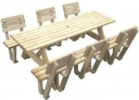Luxe houten picknicktafel 220 cm inclusief 6 rugleuningen - 40 mm houtdikte