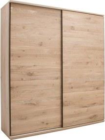 Goossens Excellent Kledingkast Nature, 200 cm breed, 223 cm hoog, 2 hout schuifdeuren