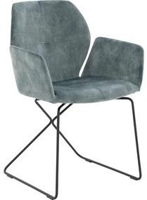 Goossens Eetkamerstoel Manzini groen stof met arm, modern design