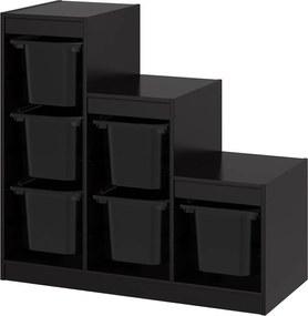 TROFAST Opbergcombinatie met bakken 99x44x94 cm zwart