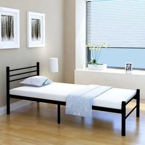 Medina Bed met traagschuim matras metaal zwart 90x200 cm