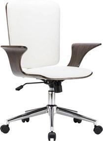 Kantoorstoel draaibaar kunstleer en gebogen hout wit