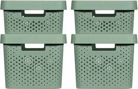 Opbergboxen 4 st Infinity met deksel 11 L + 17 L groen