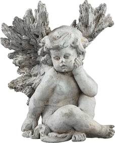 Angel Grey Beeld Angel - Sitting - Grijs XL