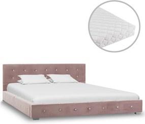 Bed met matras fluweel roze 140x200 cm