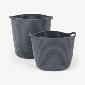 Toro grote set van 2 manden met handvatten, grijs