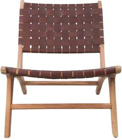 HSM Collection loungestoel Boas - leder - bruin - Leen Bakker