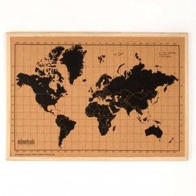 Wereldkaart prikbord houten frame 70x50 cm zwart en bruin