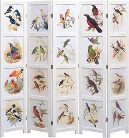 Kamerscherm met 5 panelen vogel 175x165 cm wit