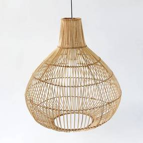 Rotan / Rieten Hanglamp, Handgemaakt, Naturel, ⌀44 cm