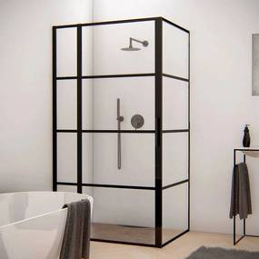 BWS Douchecabine Frame 80x140 cm 8 mm NANO Glas Mat Zwart Raster