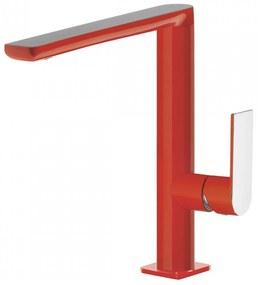 Wastafelmengkraan Tres Loft Colors 1-hendel Uitloop Recht 22 cm Rond Rood Chroom