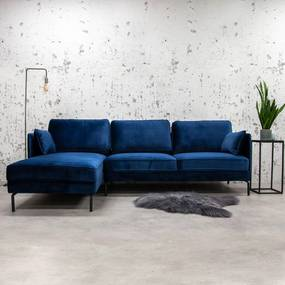 Dimehouse | Hoekbank Peppin links velours zithoogte 46 cmzitdiepte 59 cmhoogte 85 cmdikte blauw zitbanken velours stof meubels | NADUVI outlet