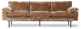 HKliving Retro Sofa Fluwelen Retro Bank Corduroy Aged Gold 4-zits