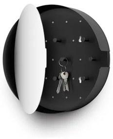 Zack Nolma spiegel met sleutelkastje 28,4x28x7cm zwart 50603