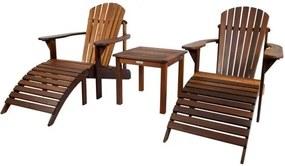 Relax tuinstoel set oil - uit exclusief mahoniehout (2 stoelen + 2 voetenbankjes + sidetable