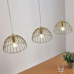 Kooivormige hanglamp Deria, messing, 3-lamps