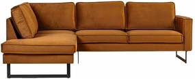 Hoekbank / Loungebank Stuart | Links | velours Adore cognac 28 | 1,97 x 2,48 mtr