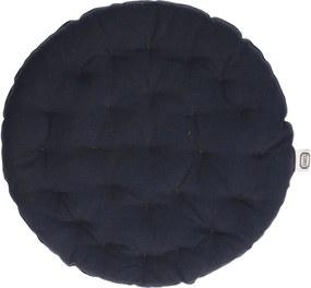 Stoelkussen rond, katoen, donkerblauw, Ø 40 cm