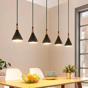 LED hanglamp Arina met 5 zwarte kappen - lampen-24