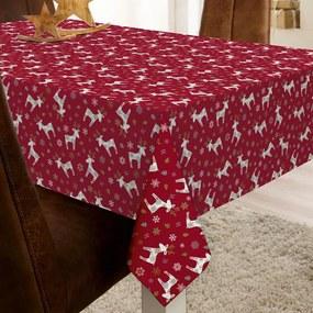 Kerst Tafelzeil Reindeer Rood