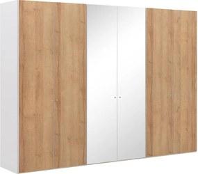 Goossens Kledingkast Easy Storage Ddk, Kledingkast 304 cm breed, 220 cm hoog, 4x draaideur en 2x spiegel draaideur midden