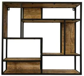 Vierkant Wandrek Van Hout En Metaal - 80x15x80cm.