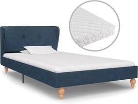 Bed met matras stof blauw 90x200 cm