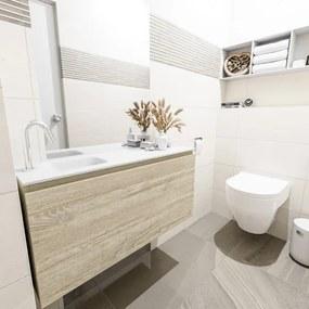 MONDIAZ OLAN Toiletmeubel 100x30x40cm met 1 kraangaten 1 lades light brown grey mat Wastafel Lex links Solid Surface Wit FK75342743