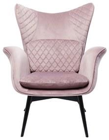 Kare Design Tudor Fluwelen Oor-fauteuil Roze