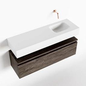 MONDIAZ ANDOR 100cm toiletmeubel dark brown. LEX 100cm wastafel talc rechts geen kraangat