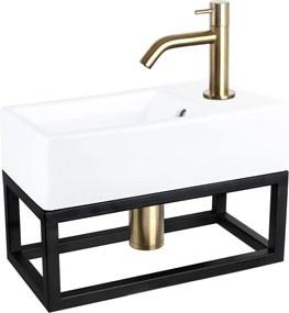 Fonteinset Differnz Force Rechthoek 40x22x27cm Keramiek Wit Handdoekrek Gebogen Toiletkraan Clickwaste Sifon Geborsteld Goud