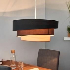 Donkere hanglamp Melia in zwart en bruin - lampen-24
