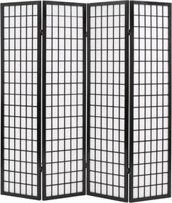 Kamerscherm inklapbaar Japanse stijl 160x170 cm zwart