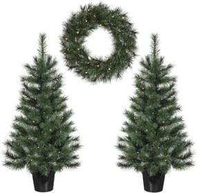 Edelman Glendon set 2 kerstbomen 1 krans LED - groen - Leen Bakker