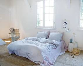 Dekbedovertrek lichtblauw, linnen Maxime Lits-jumeaux (240-200 cm)