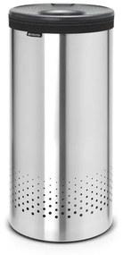 Brabantia wasbox 35 liter met dark grey kunststof deksel en uitneembare waszak matt steel 103469