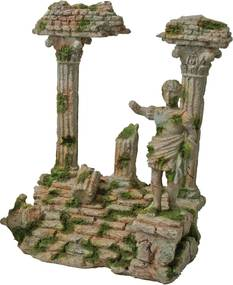 Polyresin ornament Romeinse tempel met beeld grijs 22x17 cm