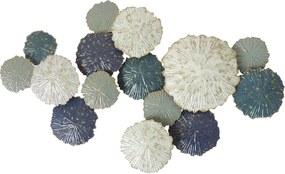 Goossens Schilderij Metalen Wanddecoratie, Metaal cirkels blauw wit