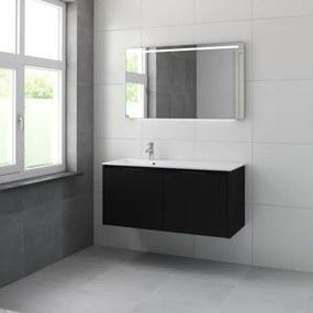 Bruynzeel Matera badmeubelset kom links 120x56.5x50cm met spiegel zijde zwart 226242k