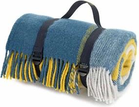 Picknickkleed wol: blauw, geel