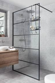 Miralo Inloopdouche met industrieel zwart frame 100x210 cm Helder Glas/Mat Zwart