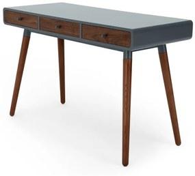 Edelweiss bureau, walnotenhout en grijs
