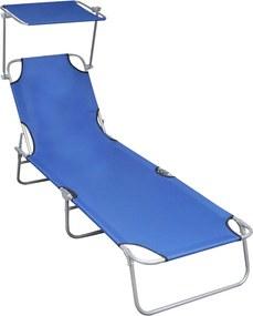 Ligbed inklapbaar met luifel aluminium blauw