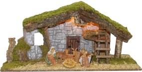 Kerststal met verlichting en 5 figuren