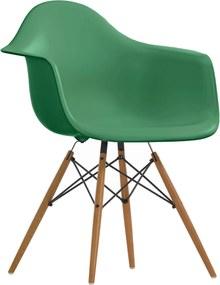 Vitra DAW stoel kuip classic green onderstel geelachtig esdoorn