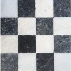 Kerabo Vloer- en wandtegel Dambord wit marmer en Turks hardsteen anticato 10x10cm Natuursteenlook Getrommeld Multi SW0732405