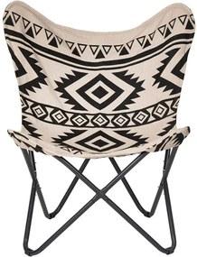 YUCATAN Vlinderstoel zwart, wit H 87 x B 74 x D 72 cm