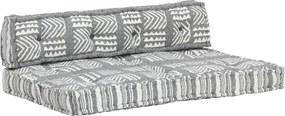 Palletbankkussen stof patchwork grijs
