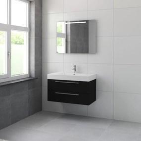 Bando badmeubelset 90 cm | spiegel | aluminium greeplijst- zijde zwart